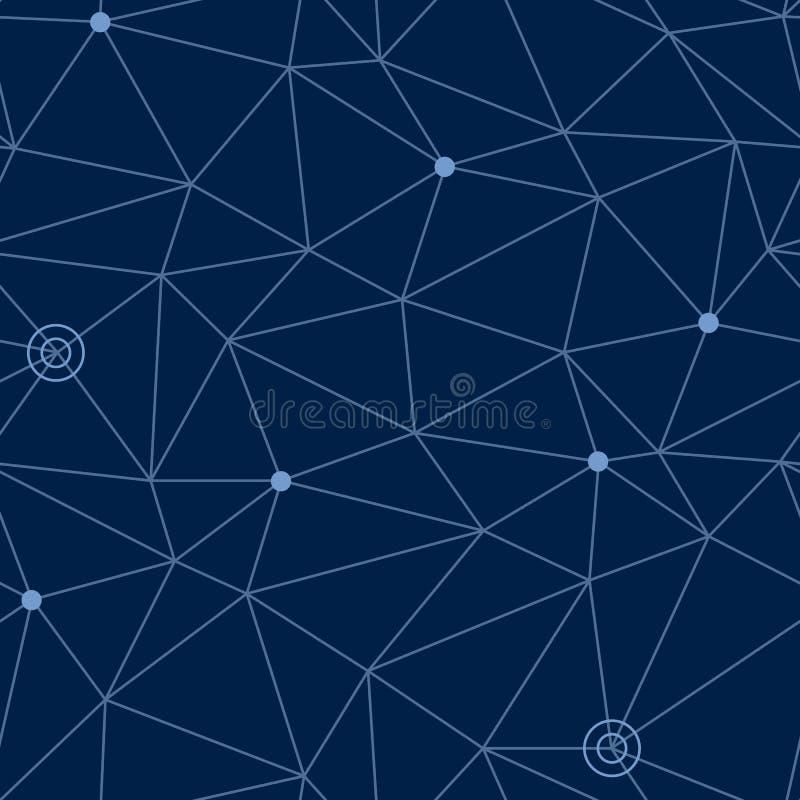 宇宙空间的抽象无缝的样式与道路被称呼的网的和星或者方式指向, eps10传染媒介例证 库存例证