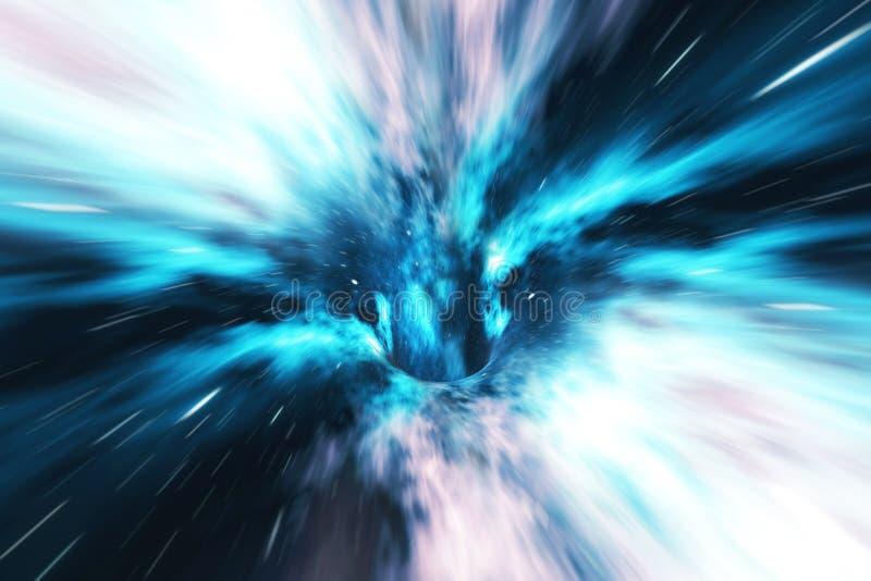 宇宙蠕虫孔,太空旅行概念,可能用别的连接一宇宙的漏斗型隧道 3d翻译 向量例证