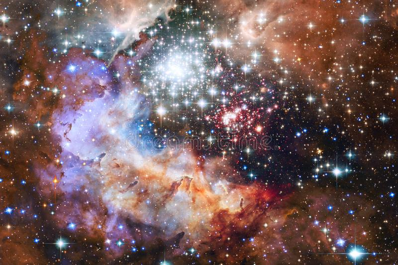 宇宙风景,与不尽的外层空间的五颜六色的科幻墙纸 免版税库存照片