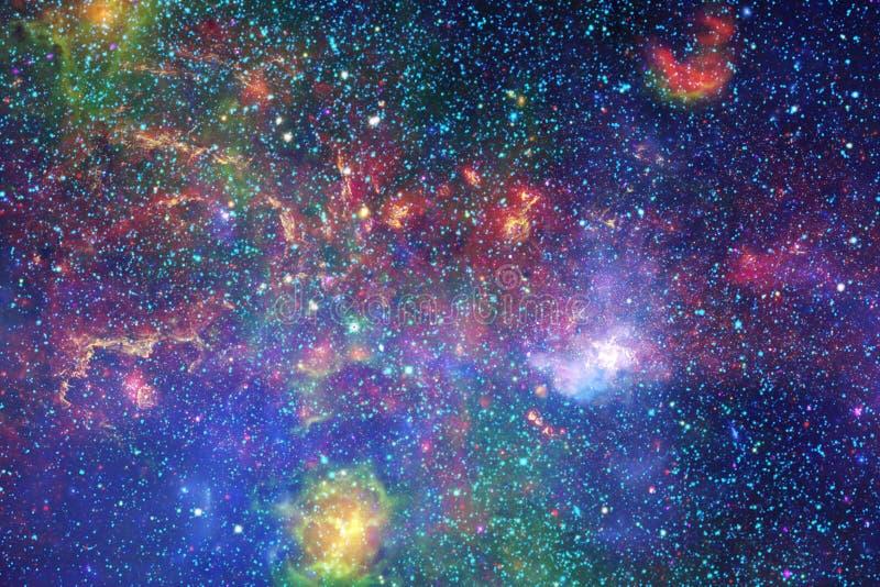 宇宙风景,与不尽的外层空间的五颜六色的科幻墙纸 库存图片