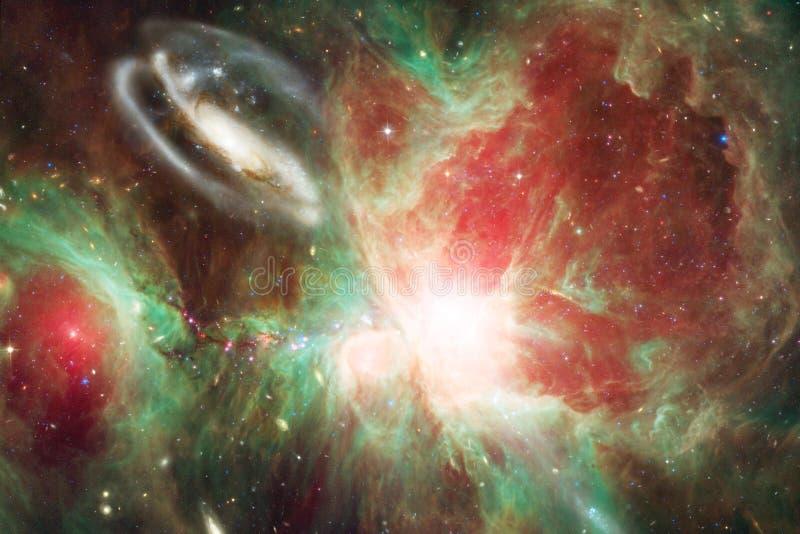 宇宙风景,与不尽的外层空间的令人敬畏的科幻墙纸 图库摄影