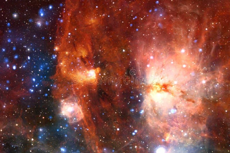 宇宙风景,与不尽的外层空间的令人敬畏的科幻墙纸 免版税库存照片