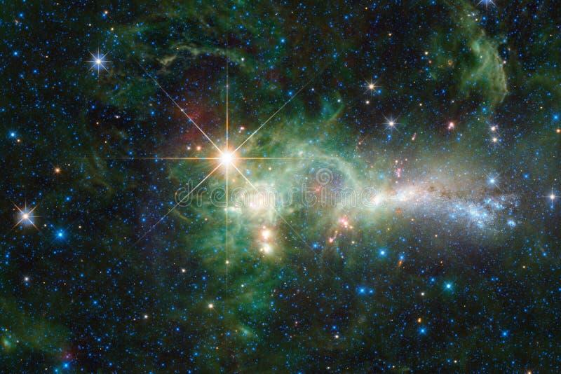 宇宙风景,与不尽的外层空间的令人敬畏的科幻墙纸 免版税库存图片
