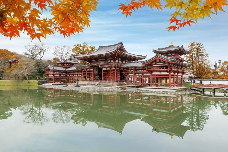 宇治市,京都,平等院寺庙的日本在秋天季节期间 库存图片