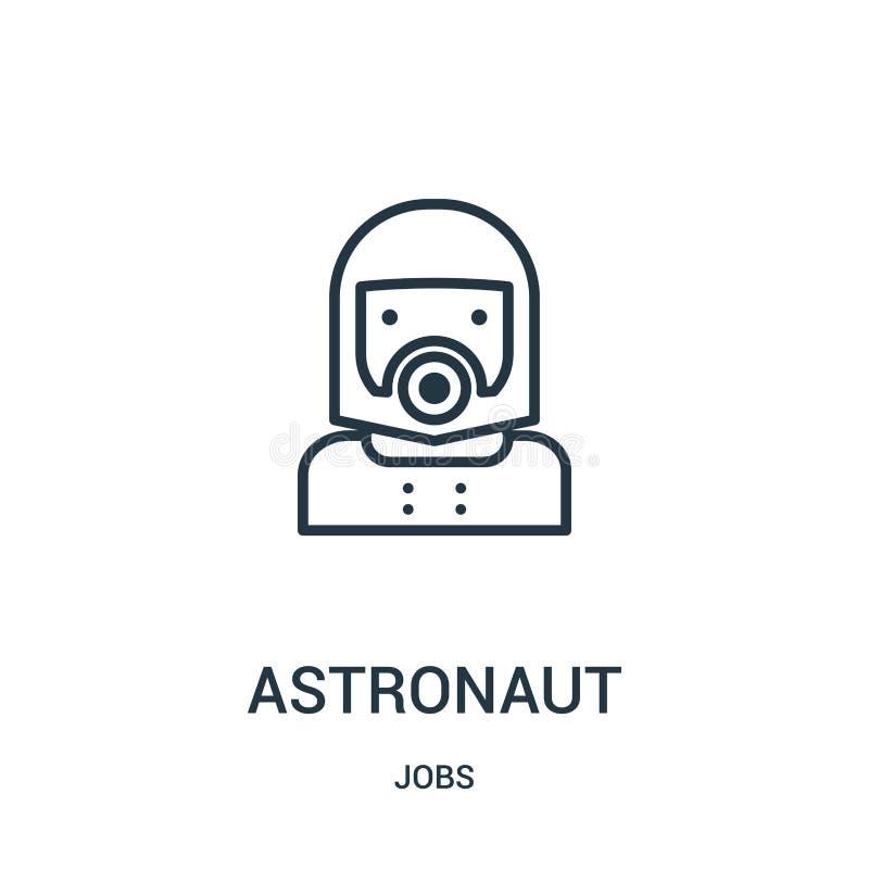 宇航员从工作汇集的象传染媒介 稀薄的线宇航员概述象传染媒介例证 线性标志 皇族释放例证