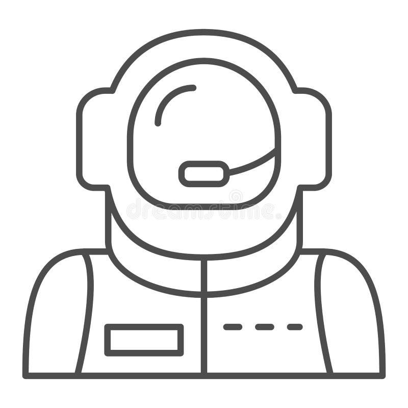宇航员具体化稀薄的线象 太空人在白色隔绝的传染媒介例证 宇航员概述样式设计 库存例证