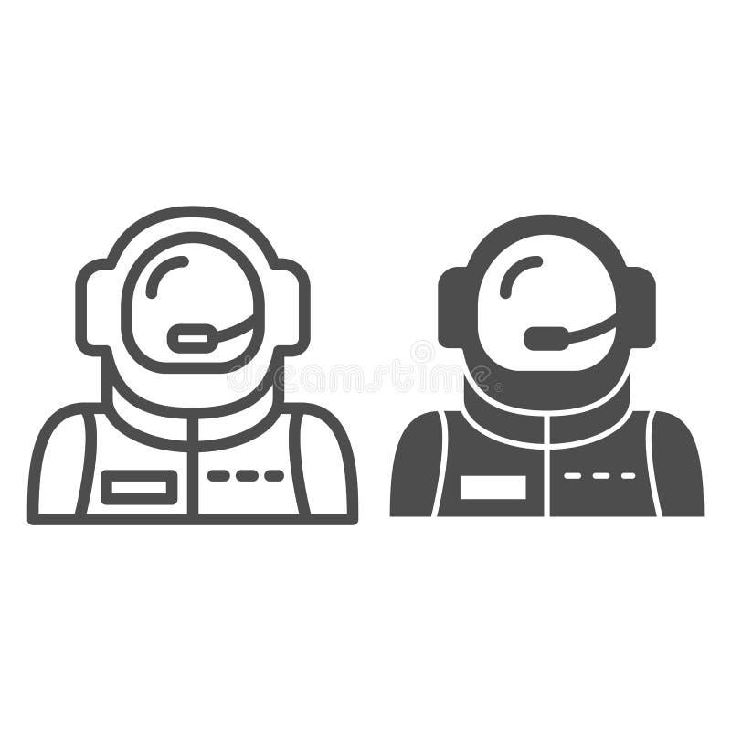 宇航员具体化线和纵的沟纹象 太空人在白色隔绝的传染媒介例证 宇航员概述样式设计 皇族释放例证