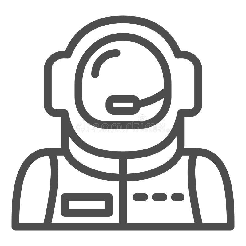 宇航员具体化线象 太空人在白色隔绝的传染媒介例证 宇航员概述样式设计,设计为 皇族释放例证