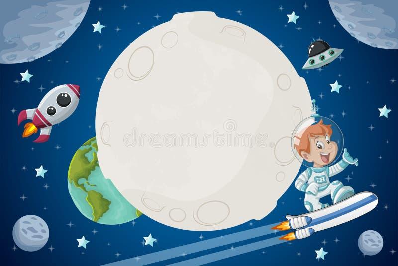 宇航员动画片在空间的男孩飞行 皇族释放例证