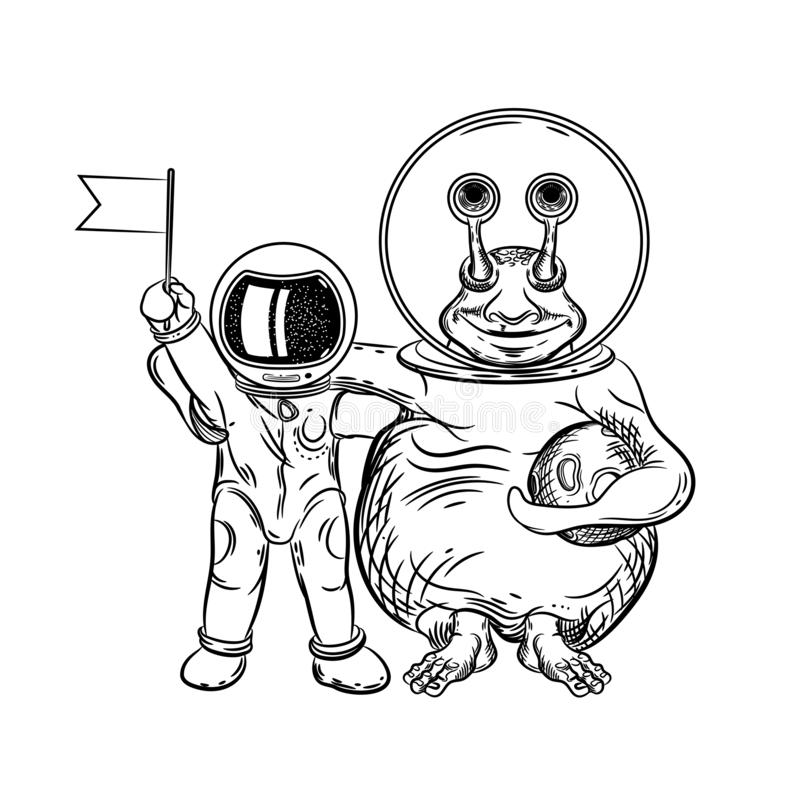 宇航员和外籍人的传染媒介图象 与地球外的文明的联络 E 皇族释放例证