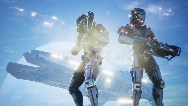 宇航员和太空飞船在他们的行星卫兵  超级现实空间概念 3d翻译 向量例证
