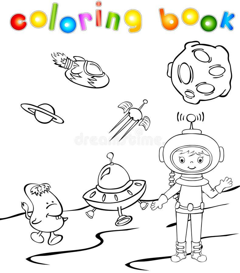宇航员和空间妖怪在火箭附近 库存例证