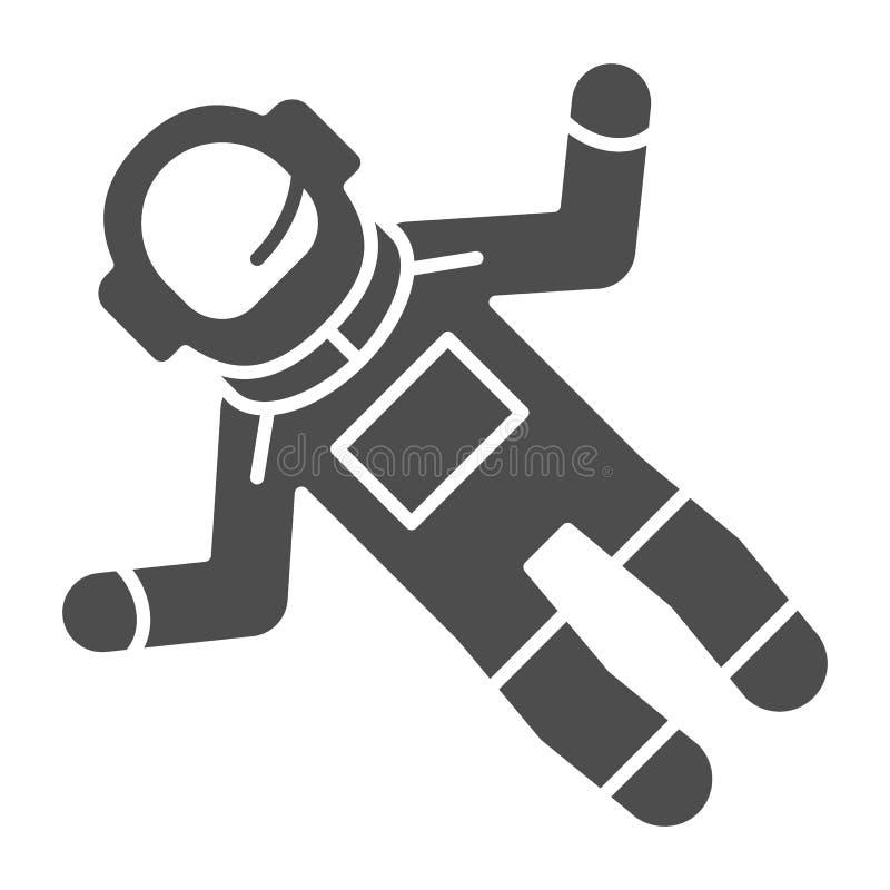 宇航员固体象 太空人在白色隔绝的传染媒介例证 宇航员纵的沟纹样式设计,设计为网和 向量例证