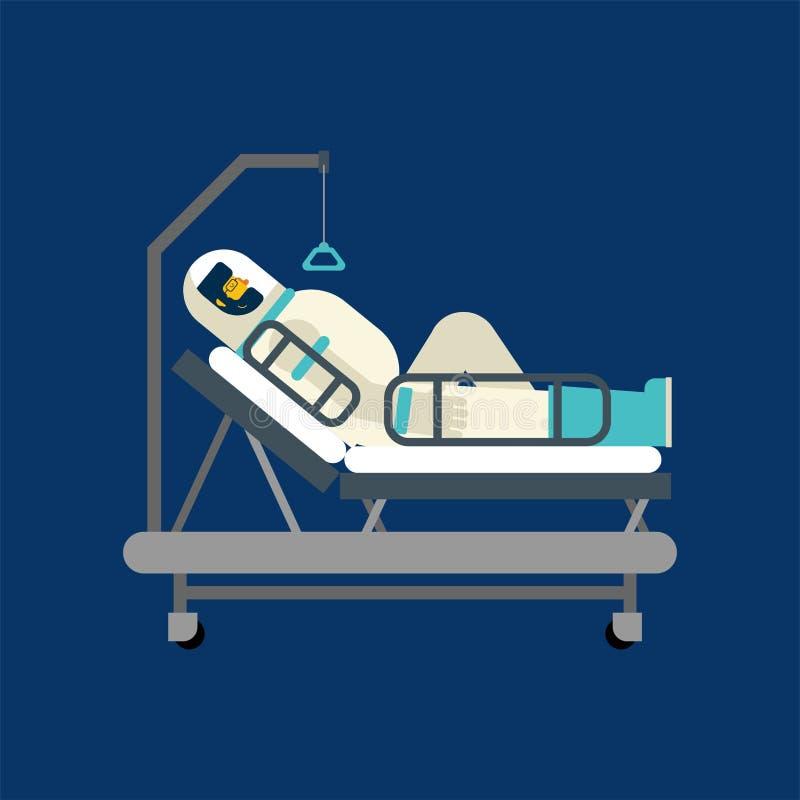 宇航员在医院病床上 太空人病 也corel凹道例证向量图片