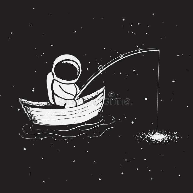 宇航员在小船坐并且捉住星 皇族释放例证