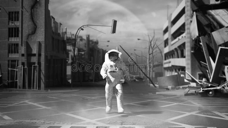 宇航员在岗位启示样式3的被破坏的城市背景中 向量例证