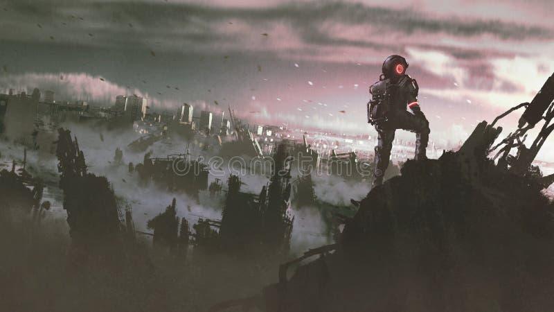宇航员在被破坏的城市 库存例证