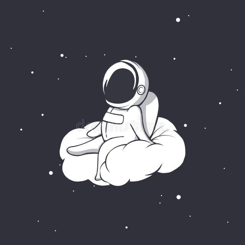 宇航员坐云彩 库存例证