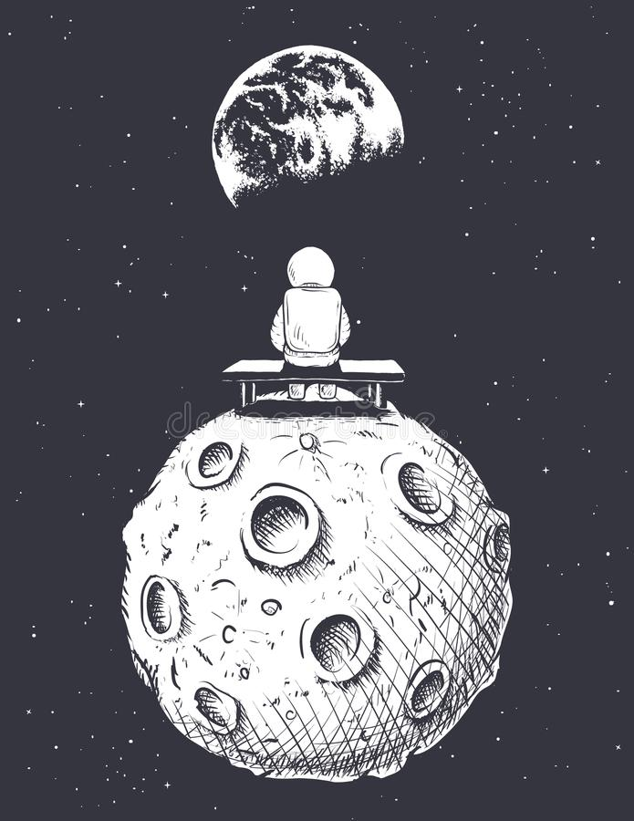 宇航员坐月亮并且看对地球 库存例证