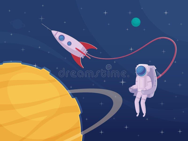 宇航员太空船外活动动画片海报 向量例证