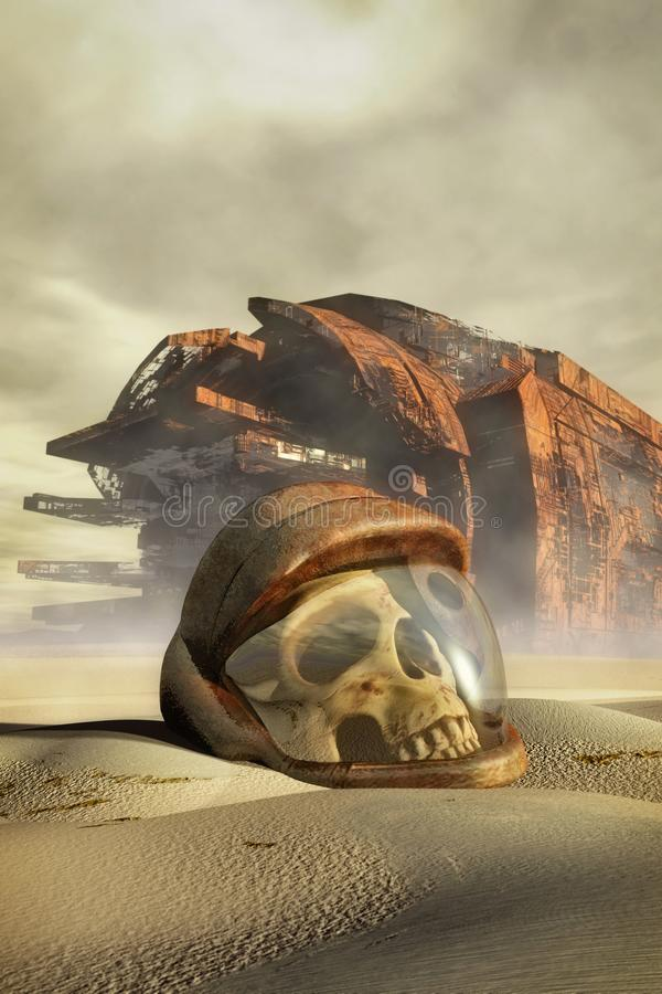 宇航员头骨盔甲和被碰撞的太空飞船 库存例证