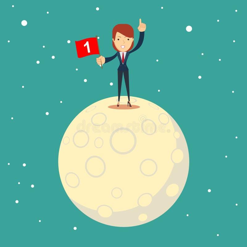 宇航员女孩登月 女实业家征服了月亮 向量例证