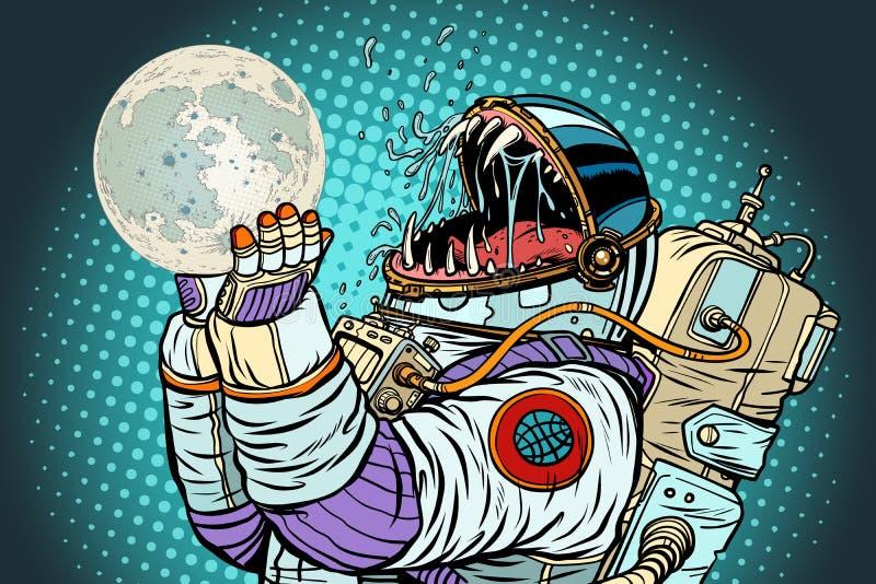 宇航员妖怪吃月亮 人类概念贪婪和饥饿  库存例证