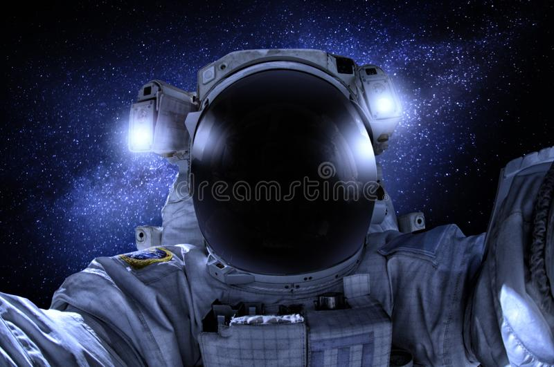 宇航员或宇航员宇宙特写镜头的 免版税库存照片