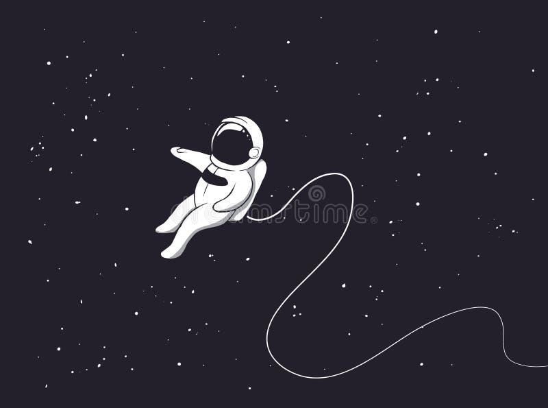 宇航员是单独的在外层空间 皇族释放例证