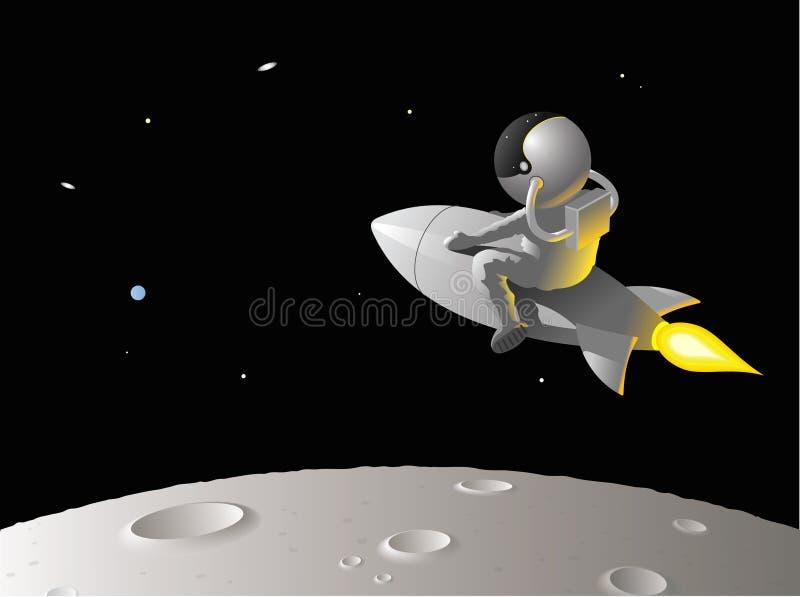 宇航员月亮 向量例证