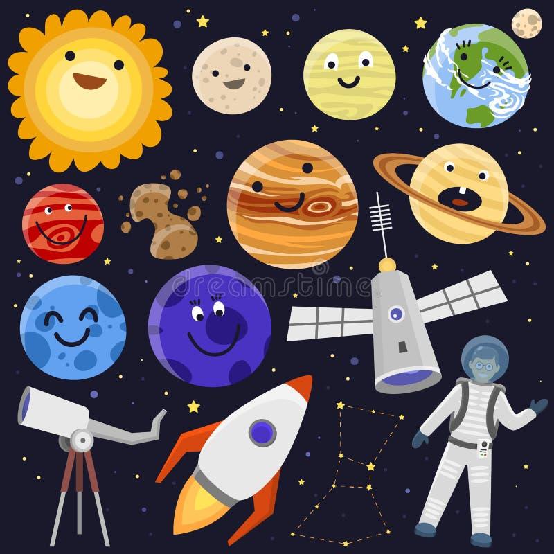 宇航员空间着陆行星太空飞船太阳系未来探险太空船宇航员火箭穿梭载体 向量例证