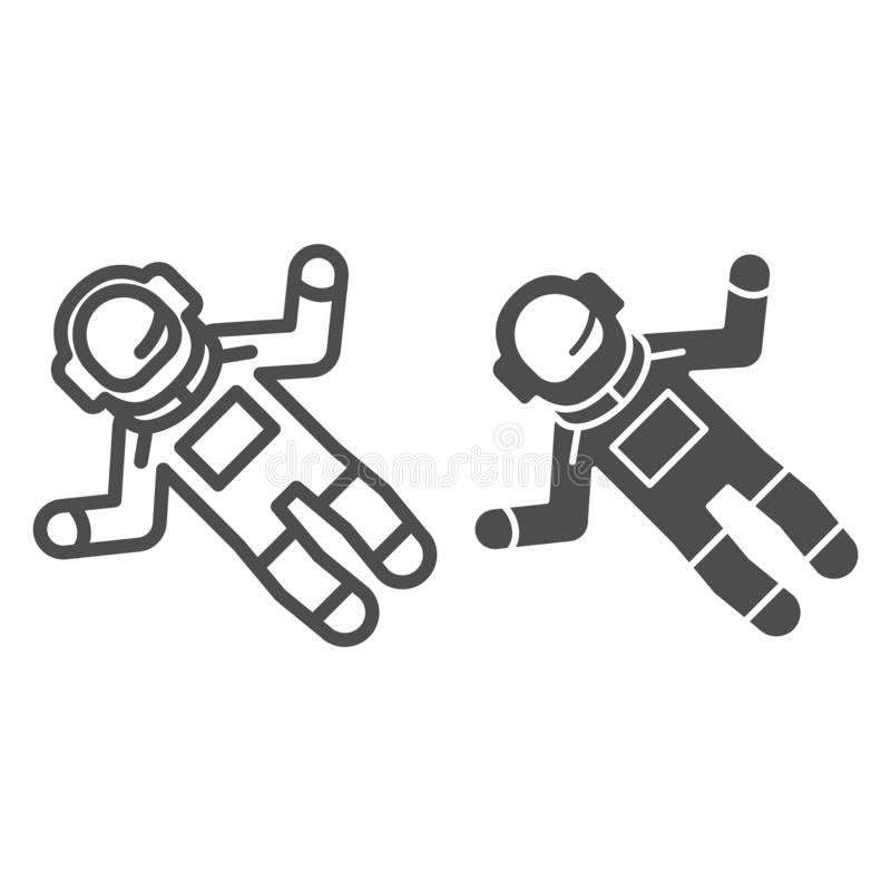 宇航员线和纵的沟纹象 太空人在白色隔绝的传染媒介例证 宇航员概述样式设计,被设计 库存例证