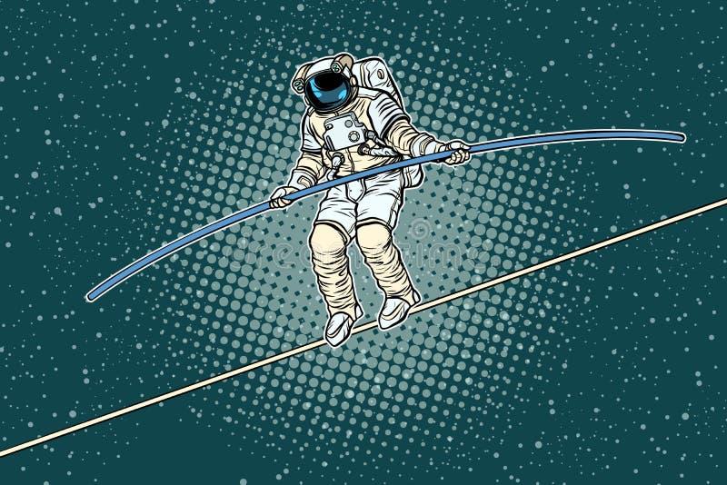 宇航员绳索步行者,科学的研究员的风险 皇族释放例证