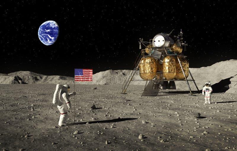 宇航员设置了在月亮的一面美国国旗 向量例证