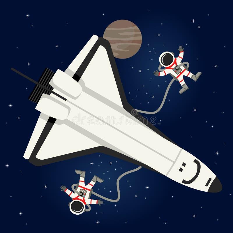 宇航员&梭在外层空间 皇族释放例证