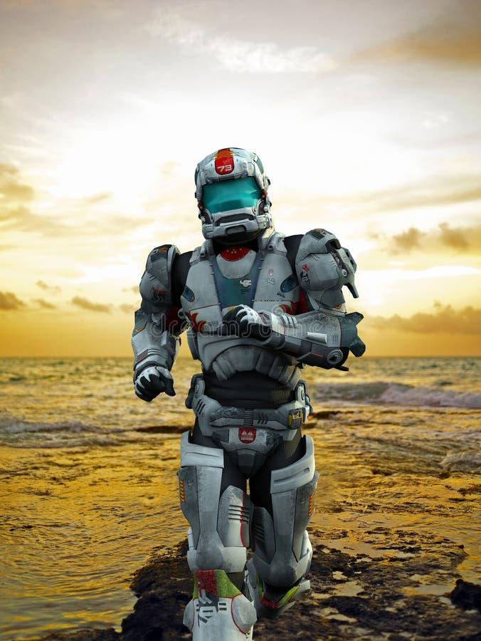 宇航员runing海滩的英雄 库存例证