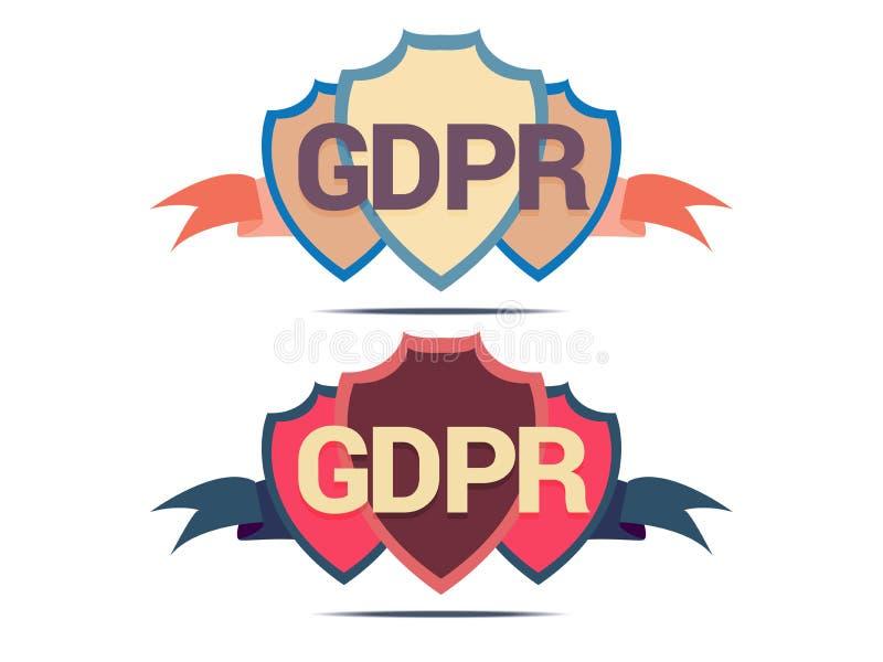 守卫数据,安全标志,在白色背景的向量图形的GDPR盾 皇族释放例证