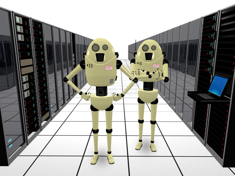 守卫机器人的计算机 库存例证