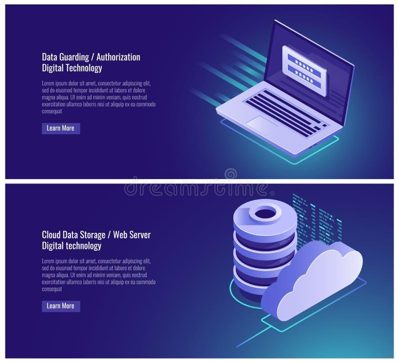 守卫的数据,授权形式、密码和注册输入,注册页,云彩数据存储,网络主持 库存例证