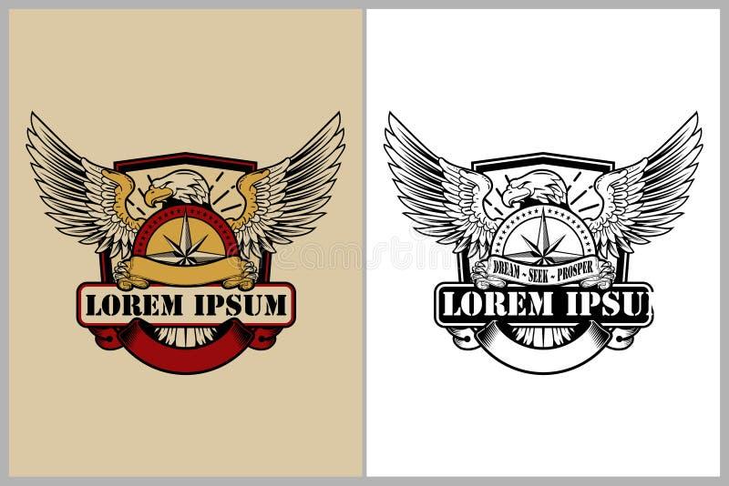 守旧派与指南针和盾传染媒介的样式老鹰印刷品或徽章商标模板的 向量例证