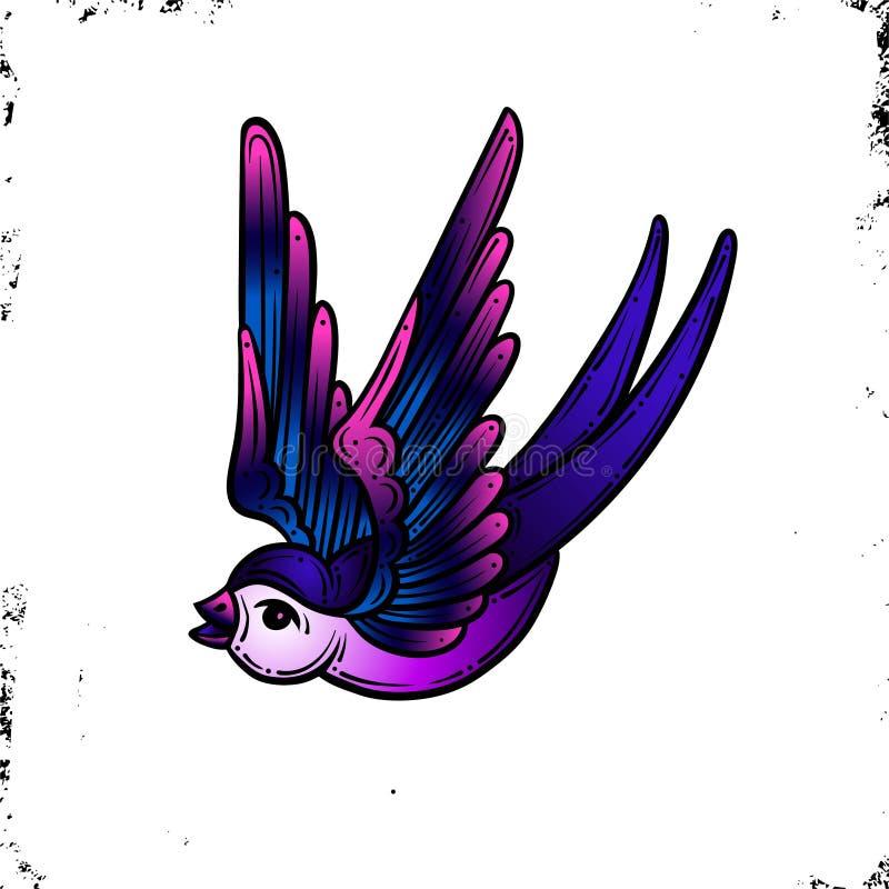 ?? 守旧派传统纹身花刺 紫罗兰和粉色 在葡萄酒背景 传染媒介隔离 有益于打印青年时期 皇族释放例证