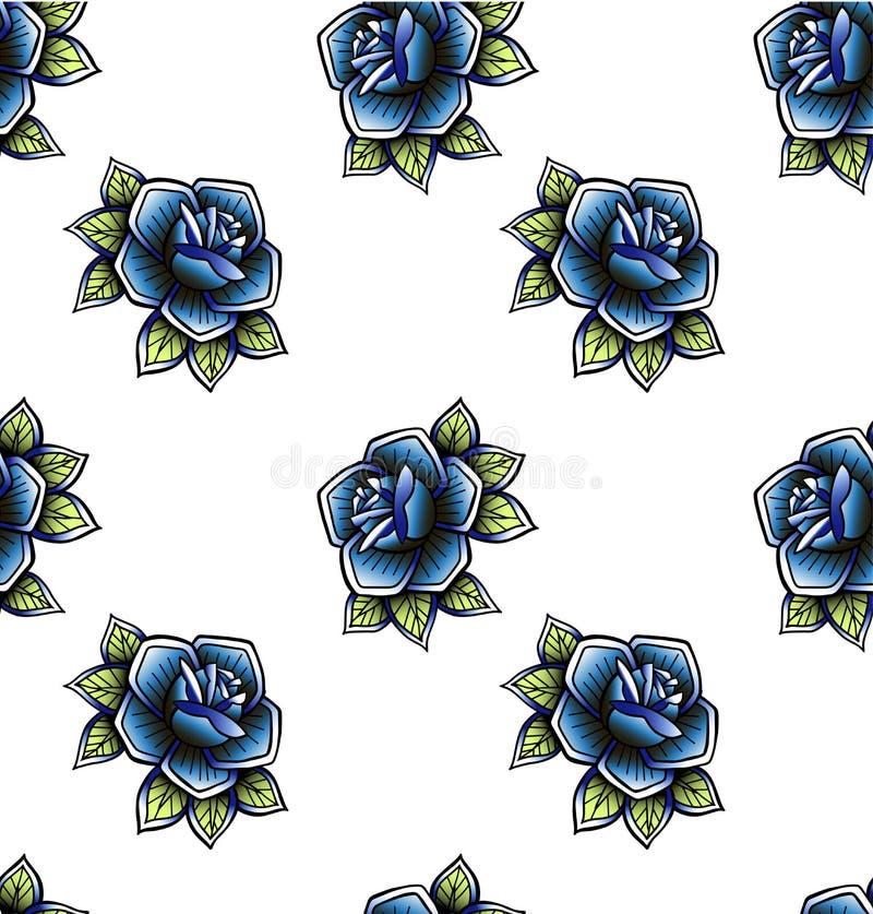 守旧派减速火箭的葡萄酒乱画纹身花刺上升了钉无缝的样式 五颜六色的oldschool tattooings花,四叶三叶草, 向量例证