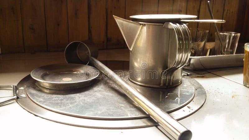 守旧派做工具的Tradituonwl咖啡 库存图片