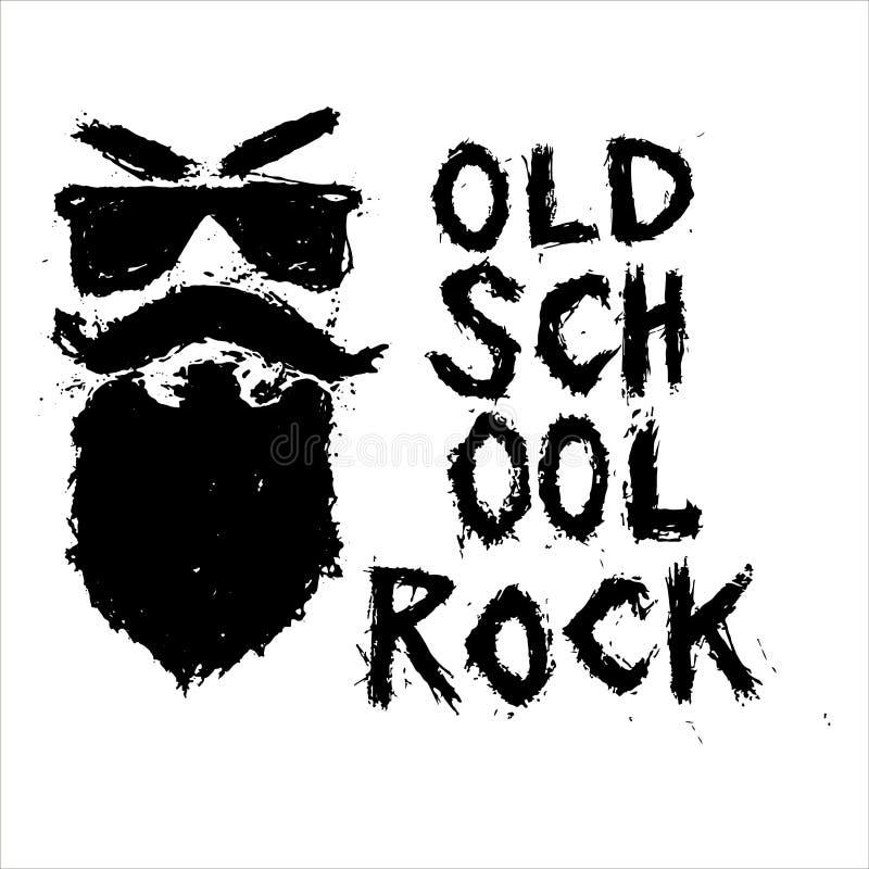 守旧派摇滚的独特的手拉的字法 向量例证