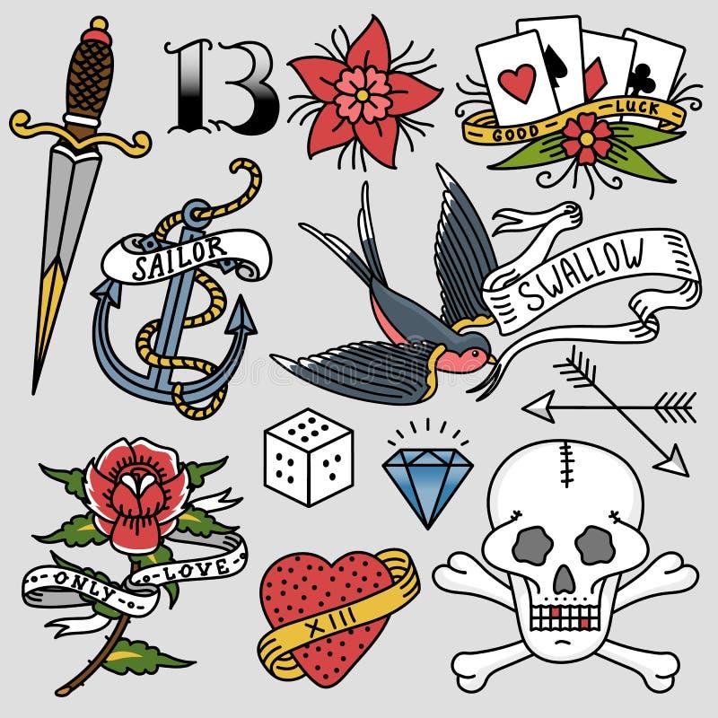 守旧派葡萄酒减速火箭的纹身花刺墨水艺术样式手拉的刺字的标志传统图解图画传染媒介 皇族释放例证