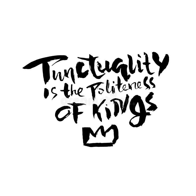 守时是国王的礼貌 手拉烘干刷子字法 墨水例证 现代书法词组 向量例证