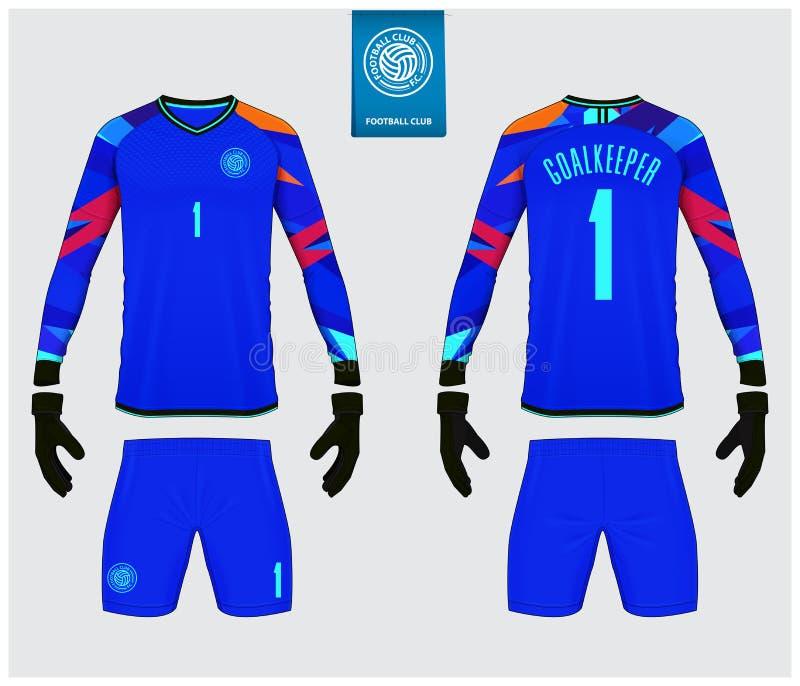 守门员球衣或足球成套工具大模型 守门员手套和长袖球衣模板设计 皇族释放例证