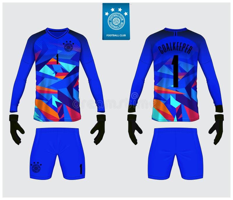 守门员球衣或足球成套工具大模型 守门员手套和长袖球衣模板设计 库存例证