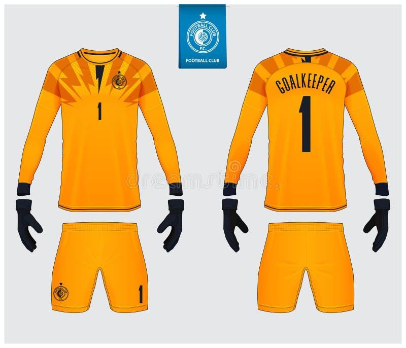 守门员球衣或足球成套工具大模型 守门员手套和长袖球衣模板设计 向量例证