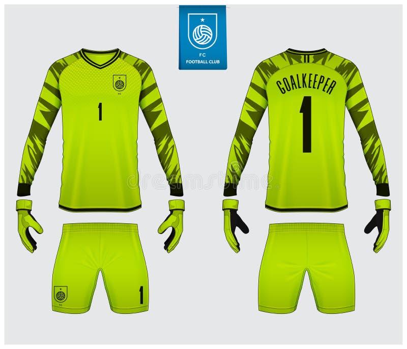 守门员球衣或足球成套工具大模型 守门员手套和长袖球衣模板设计 r ?? 皇族释放例证